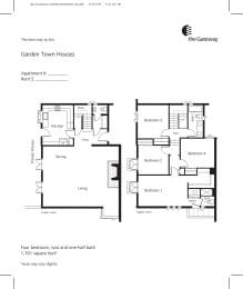 Town house floor plan 1761 sf
