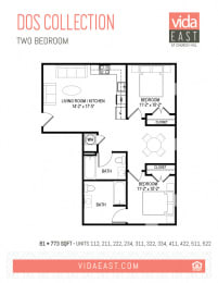 Floor Plan Dos Collection (Two Bedroom, B1)