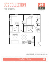 Floor Plan Dos Collection (Two Bedroom, B3)