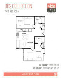 Floor Plan Dos Collection (Two Bedroom B4, B5)