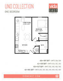 Floor Plan Uno Collection (One Bedroom, A1, A2)