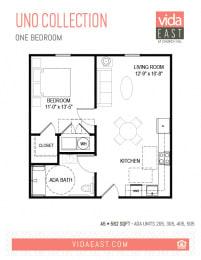 Floor Plan Uno Collection (One Bedroom, A5)