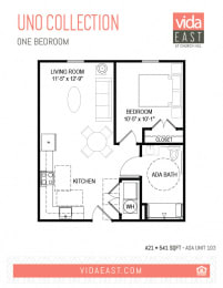 Floor Plan Uno Collection (One Bedroom, A21)