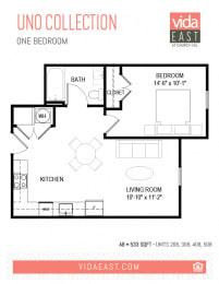 Floor Plan Uno Collection (One Bedroom, A29)