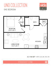 Floor Plan Uno Collection (One Bedroom, A11)