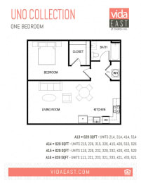Floor Plan Uno Collection (One Bedroom, A13-A16)