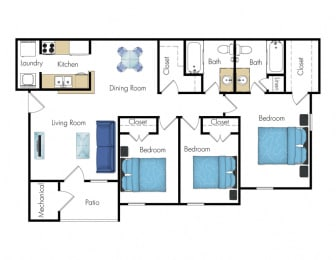 Floor Plan 3 Bed 2 Bath