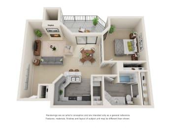 A3_Floor plan in apartments near houston tx
