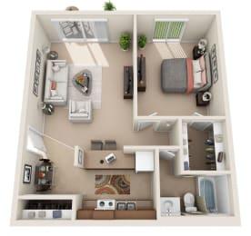 A Floor Plan at Foxboro Apartments, Wheeling, IL, 60090