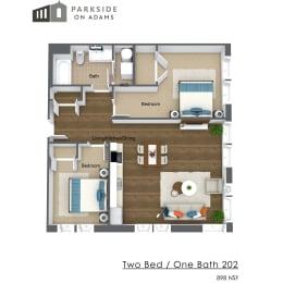 Floor Plan Two Bedroom One Bath