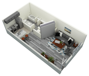 Studio Bedroom One Bath Apartment 510 sq ft with model furnishings