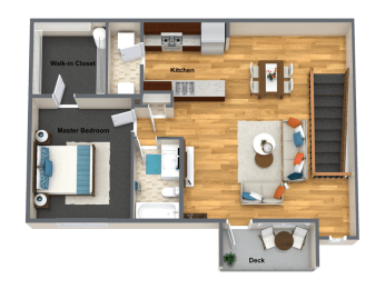 Amarone One Bed One Bath Floor Plan at The Brix Apartments, Spokane Valley, WA, 99037