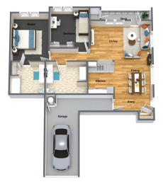 Chablis Two Bed Two Bath Floor Plan at The Brix Apartments, Spokane Valley, Washington