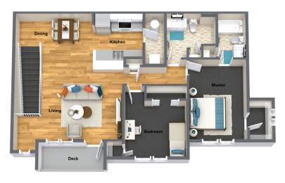Chardonnay Two Bed Two Bath Floor Plan at The Brix Apartments, Spokane Valley, 99037