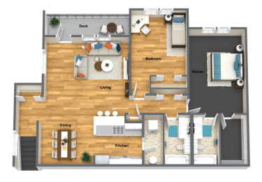 Merlot Two Bed Two Bath Floor Plan at The Brix Apartments, Washington