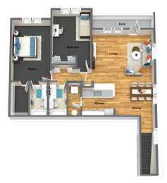 Riesling Two Bed Two Bath Floor Plan at The Brix Apartments, Spokane Valley