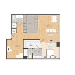 A3 – 1 Bedroom 1.5 Bath Floor Plan Layout – 1004 Square Feet