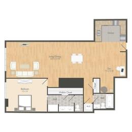 A6 – 1 Bedroom 2 Bath Floor Plan Layout – 1196 Square Feet