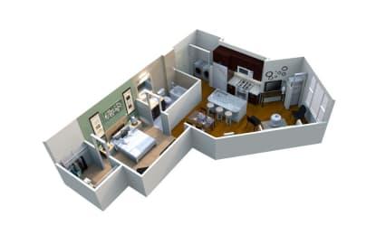 M1/1-697 (SB3) Floor Plan at Mezzo 1 Luxury Apartments, Charlotte, North Carolina