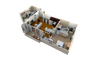 m2/2L-1080 Floor Plan at Mezzo 1 Luxury Apartments, North Carolina, 28211