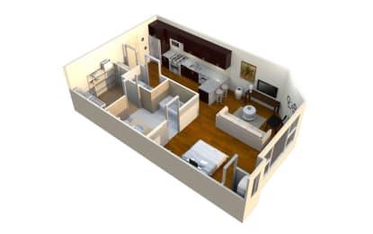 MS569 (S1) Floor Plan at Mezzo 1 Luxury Apartments, Charlotte, NC, 28211