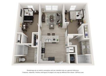 2 Bedrooms and 2 Bathrooms Floor Plans at Rivers Walk, North Carolina