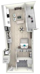 Studio One Bath with Balcony 705 Floor Plan at Nightingale, Providence, 02903