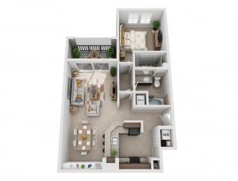 Floor Plan  Sierra Grande 1 Bedroom 1 Bathroom Apartment Naples Fl