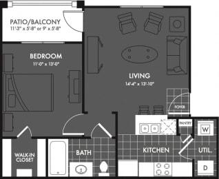 One Bed One Bath Floor Plan at Estates at Briggs Ranch, San Antonio