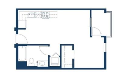 Floor Plan  MetWest on Sunset Los Angeles, CA Studio A 528 SF