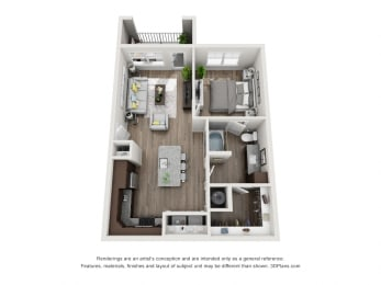 1 Bedroom 1 Bathroom Floor Plan A2A at The Luminary at 95, West Melbourne, FL