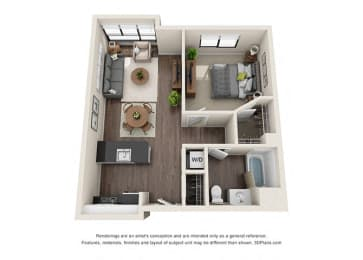 One Bedroom Floorplan for apartments in los angeles