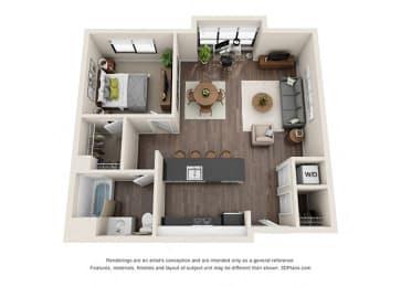 One Bedroom Floorplan with large windows