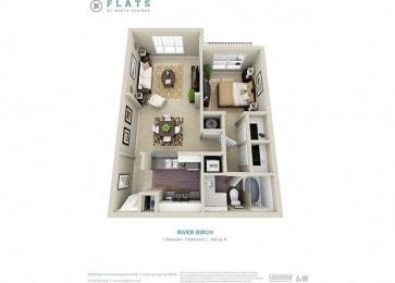 Floor Plan  Riverbirch one bedroom one bathroom