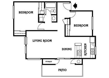 Residence E 2x1 886 sf