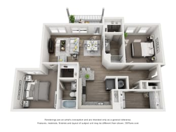 2 Bedrooms and 2 Bathrooms Floor Plans at Sixes Ridge, Georgia, 30115