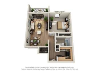 Floor Plan 1 Bed, 1 Bath Small