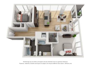 Floor Plan 1 Bed/1 Bath Den-01