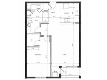 One bedroom One Bath 1B Floor Plan |Endicott Green