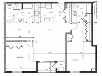 Two Bed Two Bath 2B Floor Plan |Endicott Green