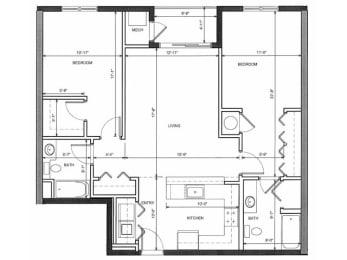 Two Bedroom Two Bath 2A Floor Plan |Endicott Green