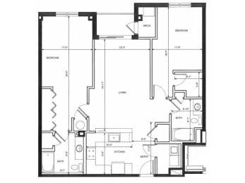 Two Bedroom Two Bath 2E Floor Plan |Endicott Green
