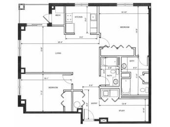 Two Bedroom Two Bath Floor Plan |Endicott Green