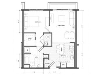 1Bedroom A Floor Plan| Merc