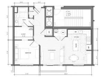 1BR Den Balcony Floor Plan| Merc