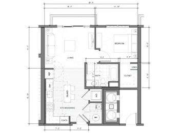 1BR G Balcony Floor Plan| Merc