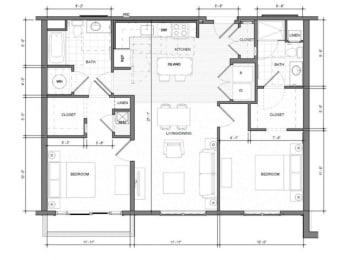 2BR C Balcony Floor Plan| Merc