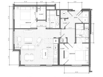 2BR-Corner-C Floor Plan| Merc