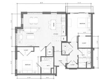 2BR-Corner-F-Balcony Floor Plan| Merc