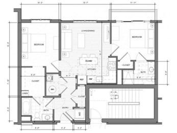 2BR-E-Balcony Floor Plan| Merc